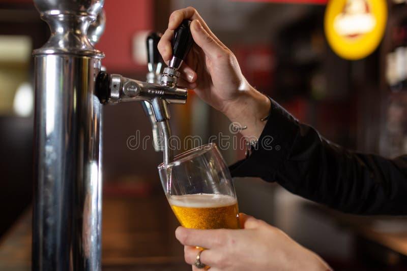 La ragazza passa il servizio del vetro della pinta del freddo ed il rinfresco della birra ad un ristorante fotografie stock