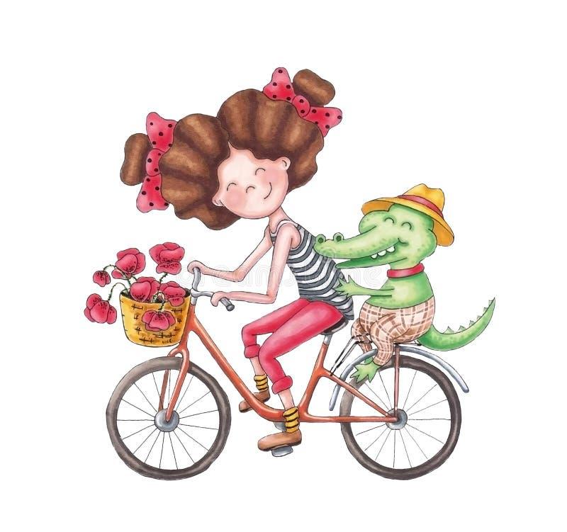 La ragazza porta un coccodrillo illustrazione vettoriale