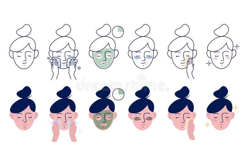 La ragazza prende la cura circa il suo fronte Istruzioni per cura facciale Istruzione graduale come usare maschera cosmetica Mett illustrazione di stock