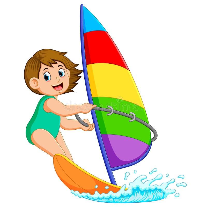 La ragazza professionale sta stando la barca a vela illustrazione vettoriale