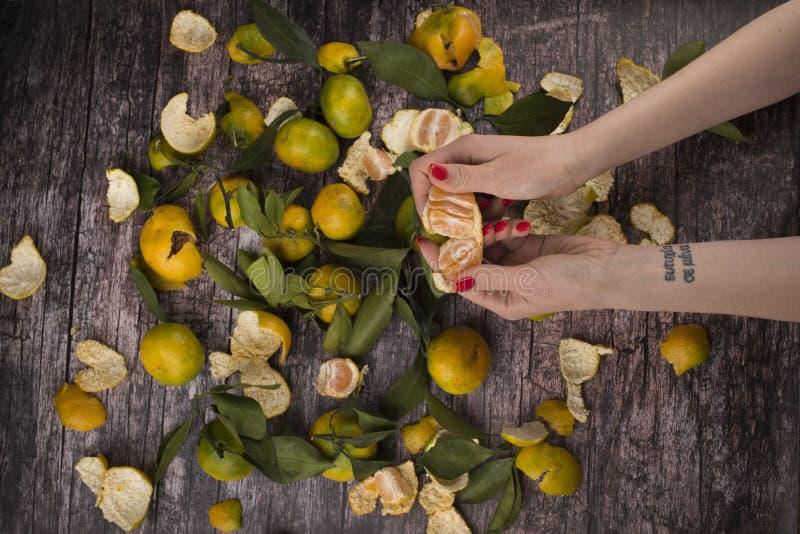 La ragazza pulisce i mandarini fotografie stock