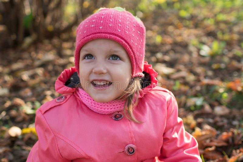 La ragazza raccoglie le foglie di autunno immagine stock libera da diritti