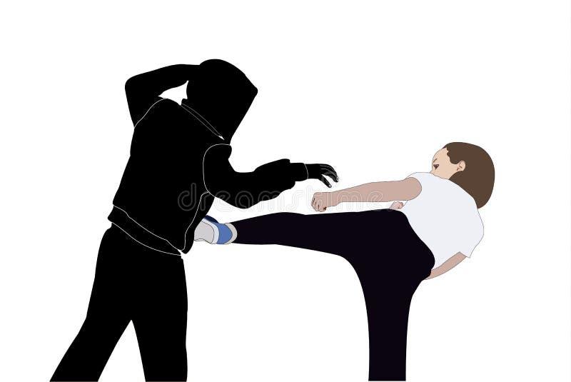 La ragazza resiste a al bandito illustrazione vettoriale