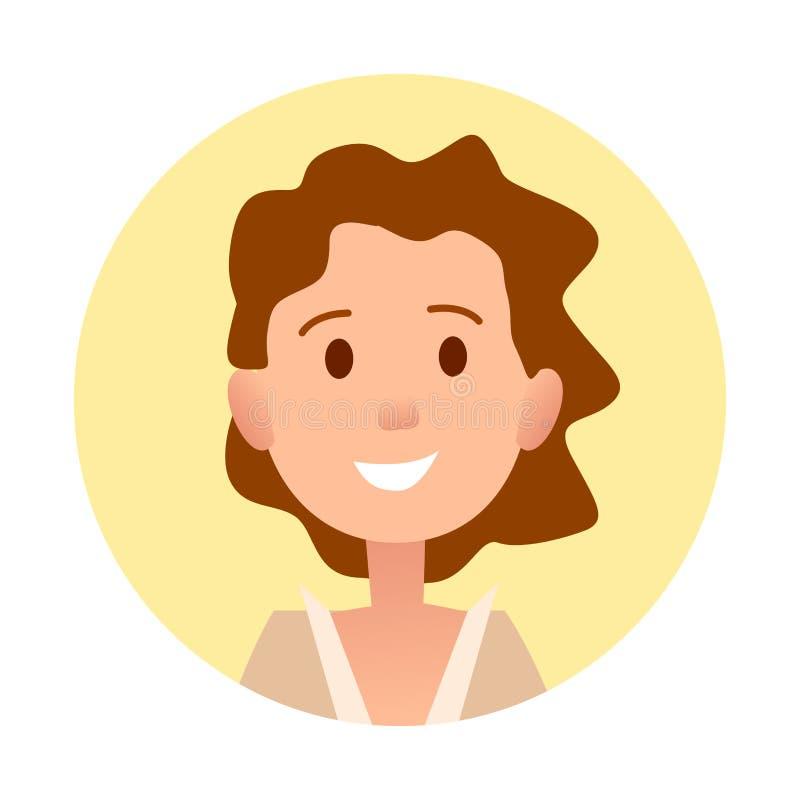 La ragazza riccia castana sorride ritratto del primo piano royalty illustrazione gratis