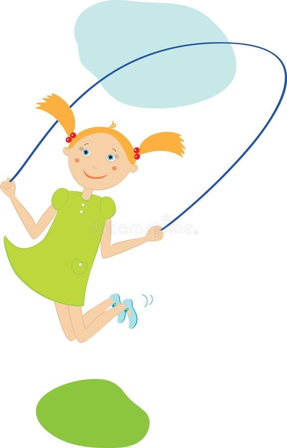 la ragazza salta il salto della corda illustrazione di stock
