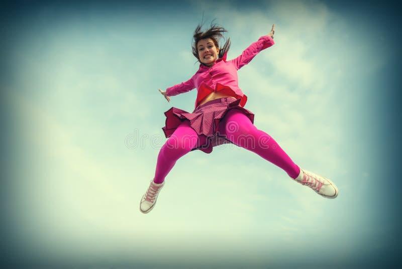 La ragazza saltata fotografie stock libere da diritti