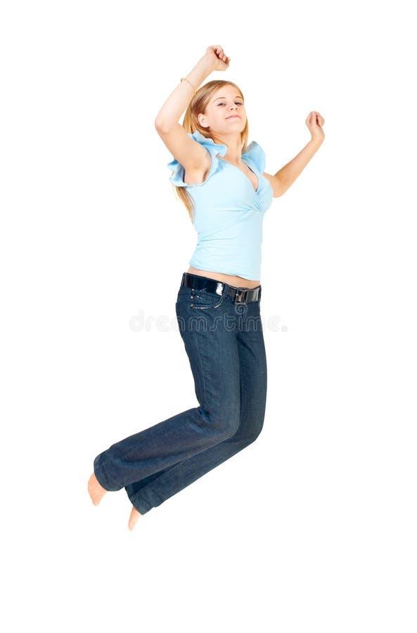 La ragazza saltata in su fotografie stock
