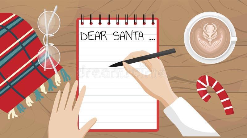 La ragazza scrive una lettera con i suoi auguri a Babbo Natale Fotografia di Natale vettoriale piatta illustrazione vettoriale