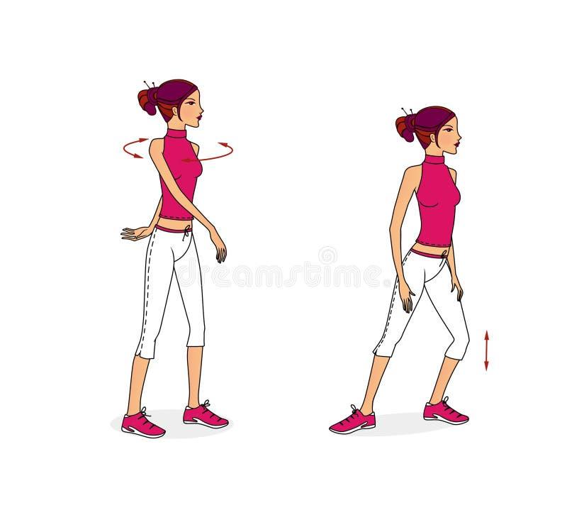 La ragazza si esercita per l'allungamento dei muscoli, la respirazione di sviluppo e la flessibilità dalla seduta, dalla menzogne illustrazione vettoriale