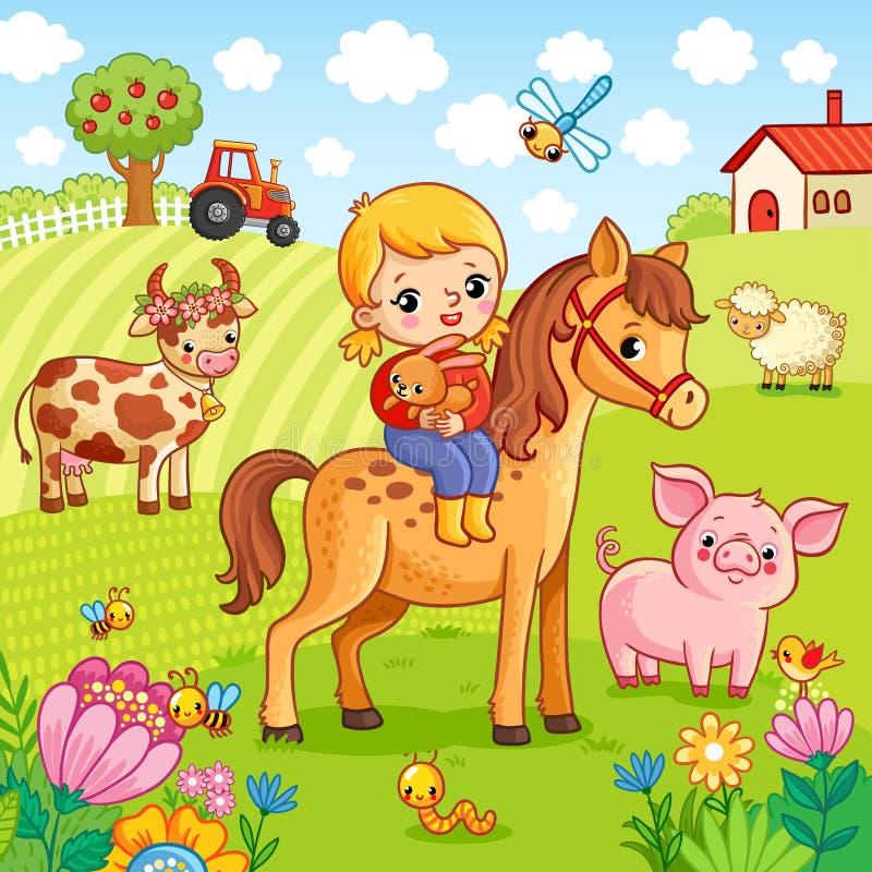 La ragazza si siede su un cavallo e tiene un coniglio in sue mani royalty illustrazione gratis