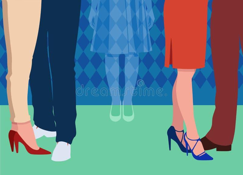 La ragazza sola ritiene invisibile ad un partito circondato dalla gente che la trascura royalty illustrazione gratis