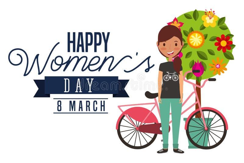 La ragazza sorridente bike ed il giorno delle donne felici della carta della decorazione dei fiori dell'albero royalty illustrazione gratis