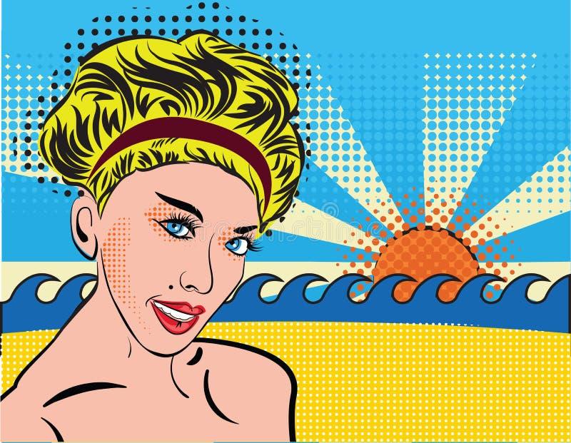 La ragazza sorridente bionda si rilassa sulla spiaggia Retro signora elegante della Boemia nello stile di Pop art Ritratto di una royalty illustrazione gratis