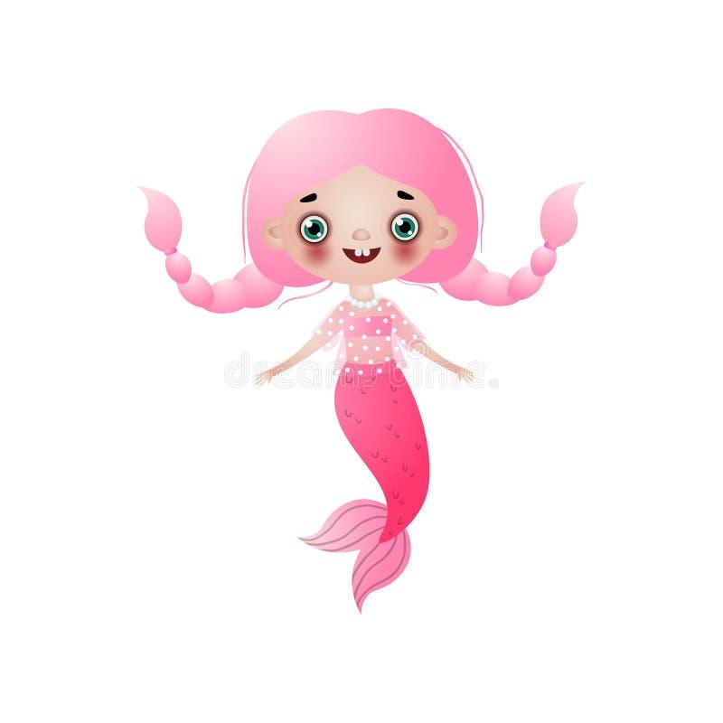 La ragazza sorridente sveglia della sirena con capelli lunghi rosa ha intrecciato i mazzi isolati su fondo bianco illustrazione di stock