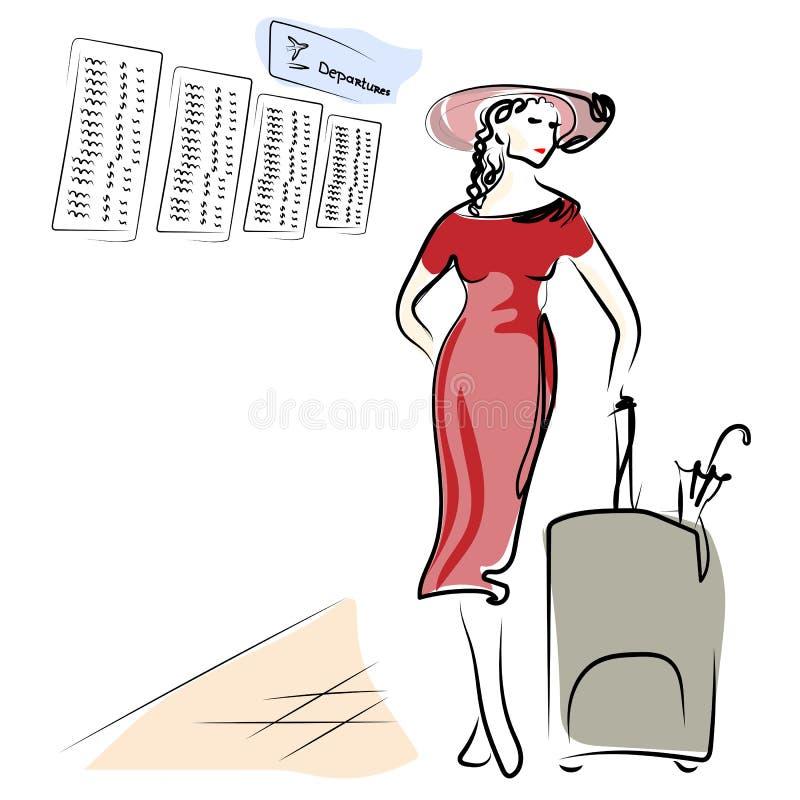 La ragazza sta aspettando nel corridoio dell'aeroporto Una giovane donna sta tenendo i bagagli bordo di partenza del tabellone se illustrazione vettoriale