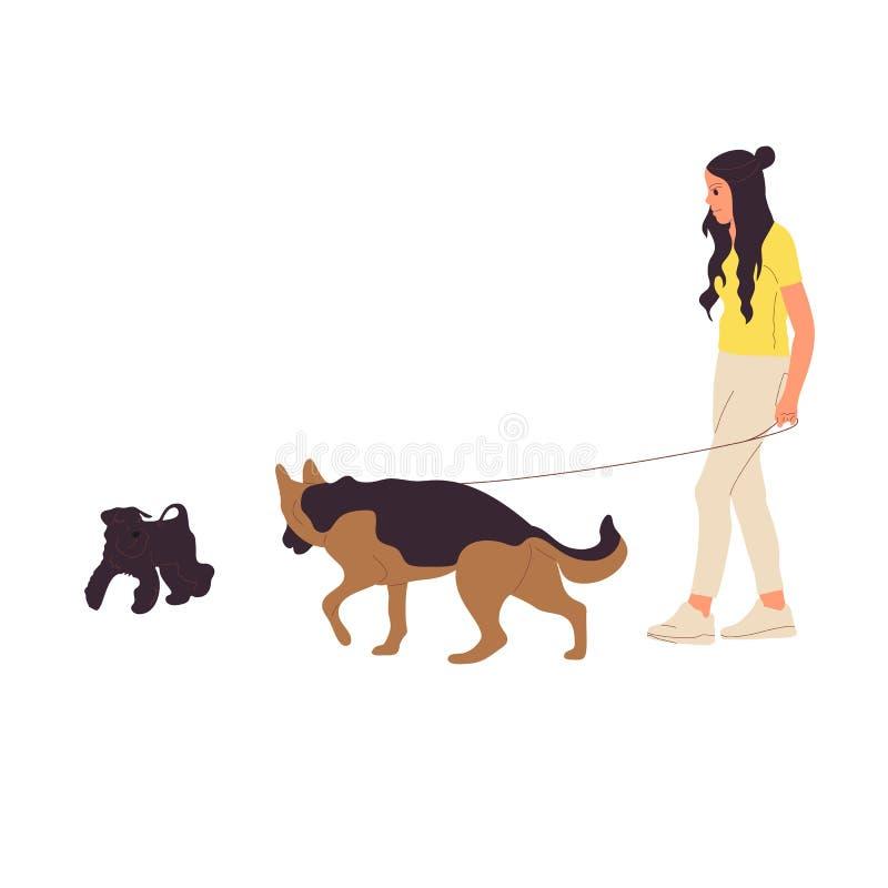 La ragazza sta camminando con un pastore tedesco Cane su un guinzaglio Isolato su priorit? bassa bianca Vettore piano delle azion illustrazione vettoriale