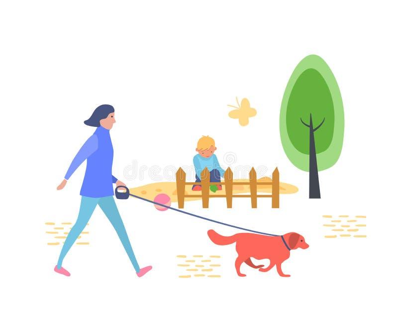 La ragazza sta camminando nel parco della ricreazione del ` s dei bambini con il cane illustrazione di stock