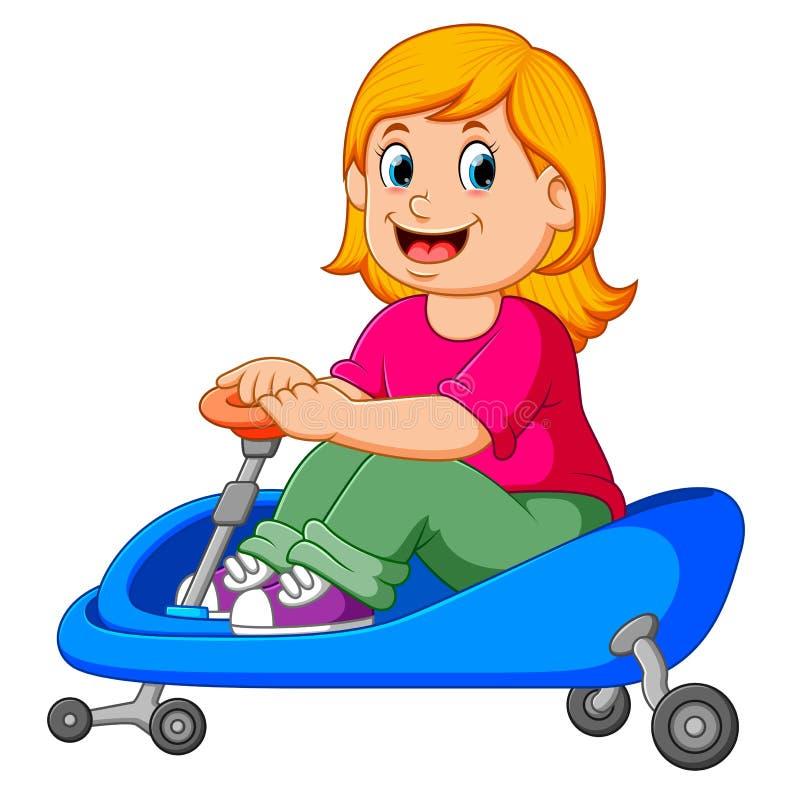 La ragazza sta ciclando sul triciclo blu royalty illustrazione gratis