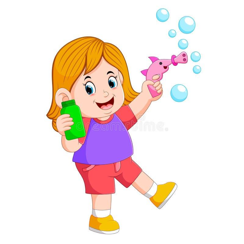 la ragazza sta giocando con la bolla e sta tenendo la bottiglia verde royalty illustrazione gratis