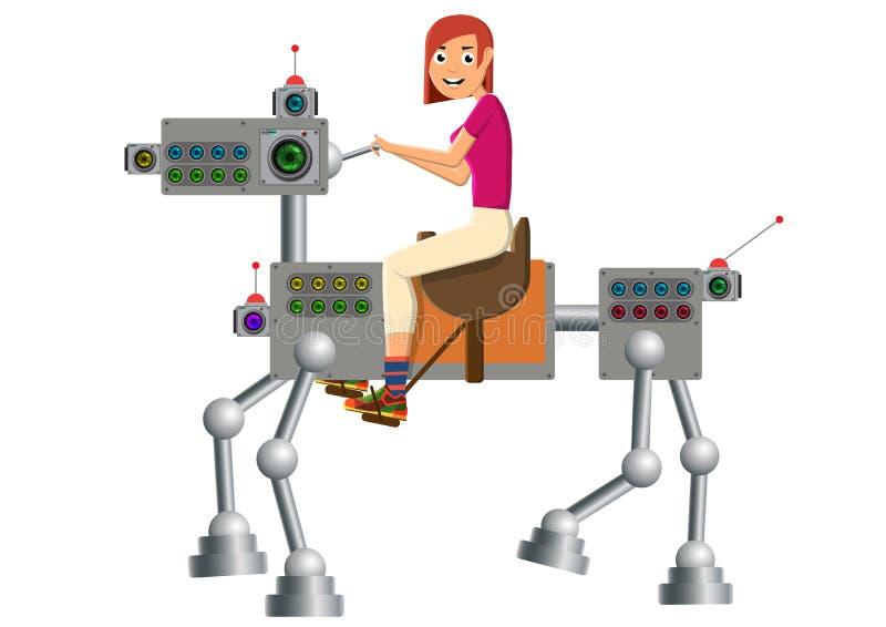 La ragazza sta guidando un e-cavallo lo sviluppo di tecnologia royalty illustrazione gratis