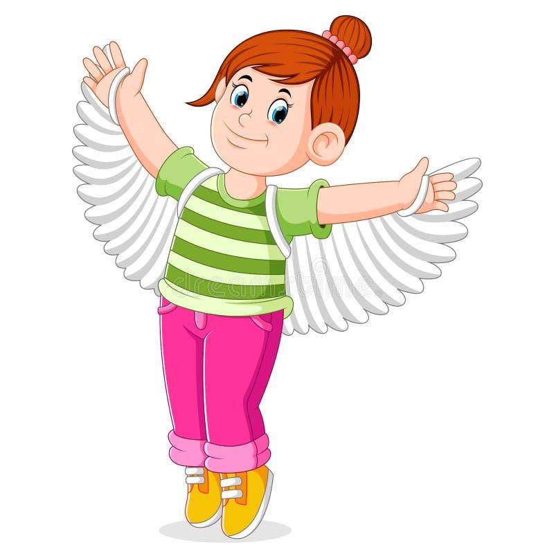 la ragazza sta provando le ali false per preparare il ballo illustrazione vettoriale
