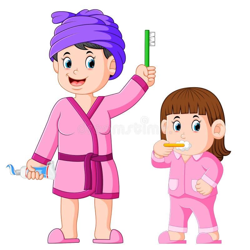 La ragazza sta pulendo i suoi denti con sua madre accanto lei illustrazione di stock