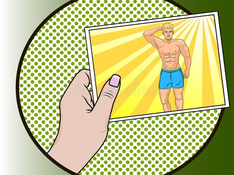 La ragazza sta tenendo una foto di un tipo in sua mano illustrazione di stock