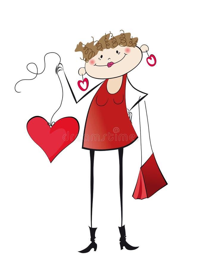 La ragazza stilizzata in un vestito rosso con cuore fotografia stock libera da diritti