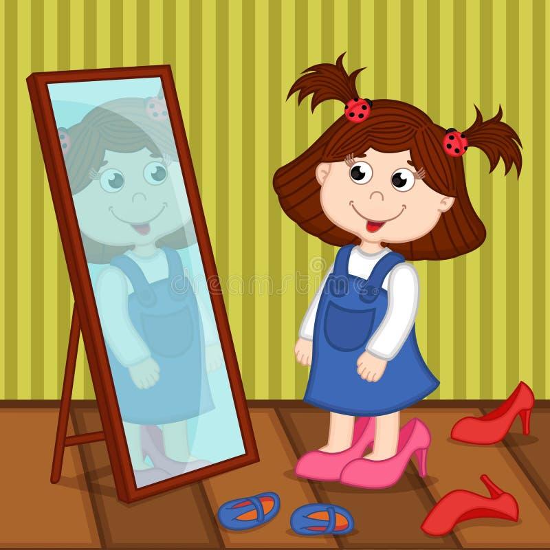 La ragazza sui talloni guarda in specchio illustrazione di stock