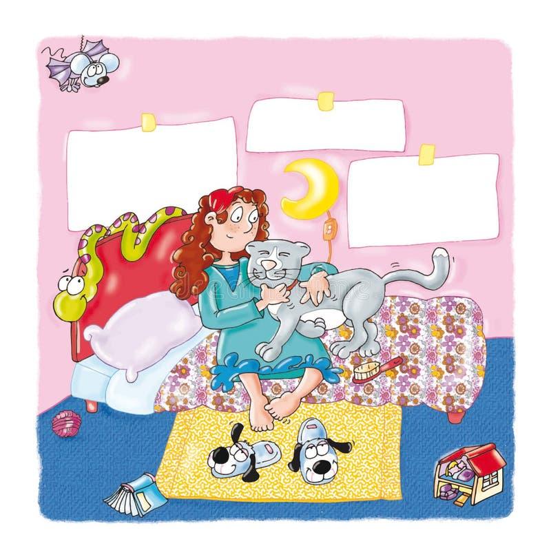 La ragazza sul letto con il gatto, abbracci, gioca il serpente, royalty illustrazione gratis