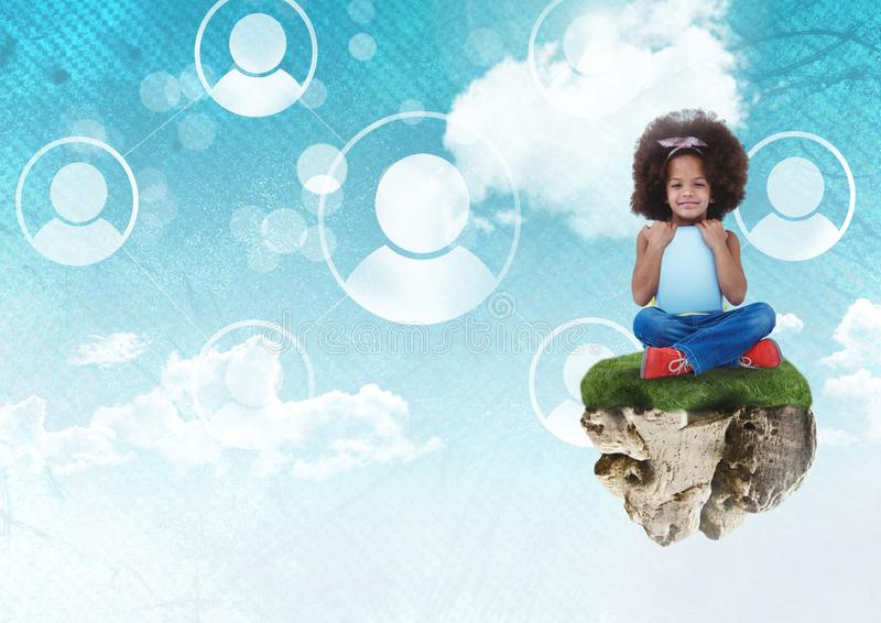 La ragazza sulla piattaforma di galleggiamento della roccia in cielo con la gente profila l'interfaccia royalty illustrazione gratis