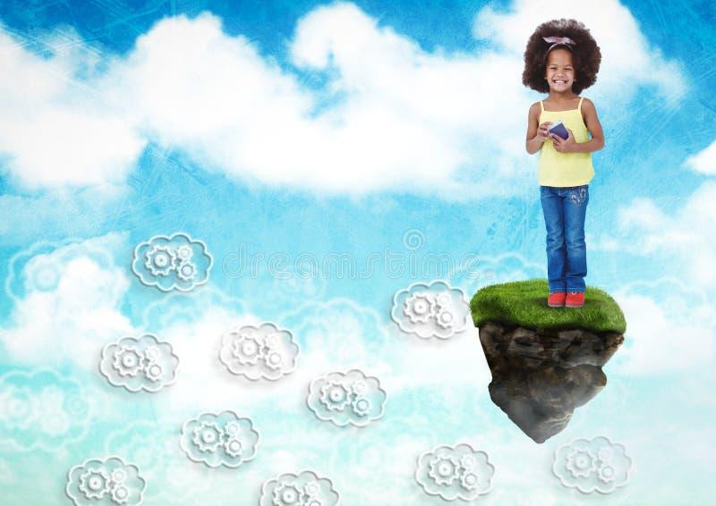 La ragazza sulla piattaforma di galleggiamento della roccia in telefono della tenuta del cielo con il grafico del dente si appann illustrazione di stock