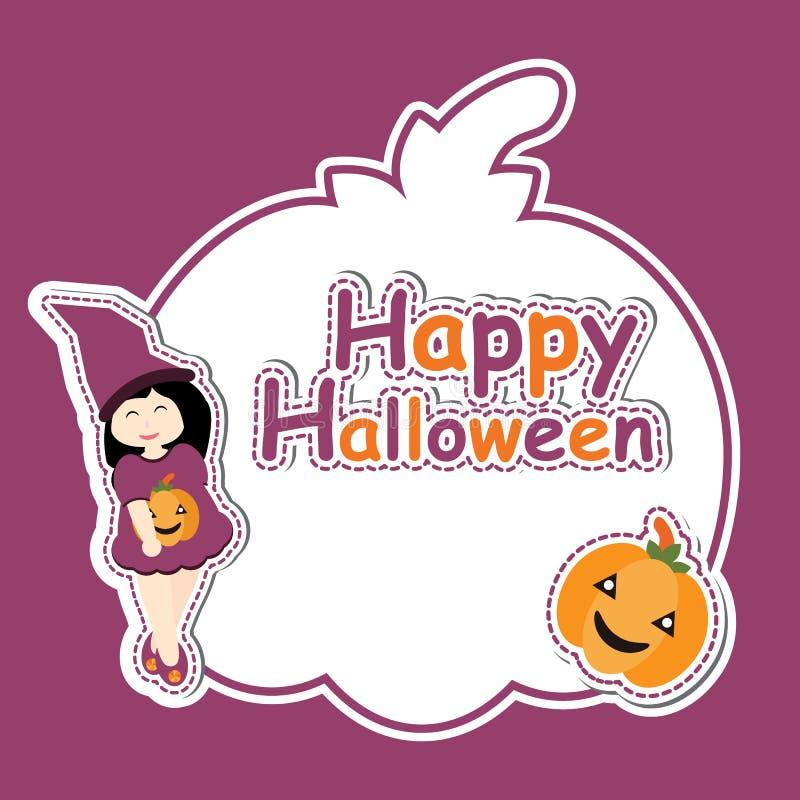 La ragazza sveglia come strega e la zucca sulla zucca incorniciano il fumetto di vettore, la cartolina di Halloween, la carta da  illustrazione di stock