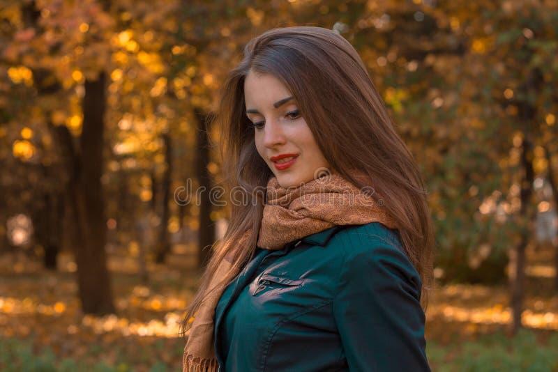 La ragazza sveglia con una sciarpa e una camicia nera sta nel parco girando lateralmente lo sguardo giù immagine stock libera da diritti