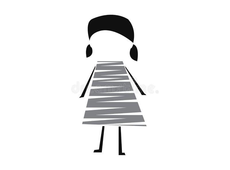 La ragazza sveglia del giocattolo con le mani e le gambe indossano le linee per l'illustrazione di progettazione di logo illustrazione vettoriale