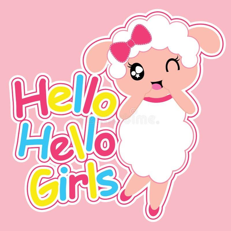 La ragazza sveglia delle pecore dice ciao l'illustrazione del fumetto delle ragazze per progettazione della maglietta del bambino illustrazione di stock