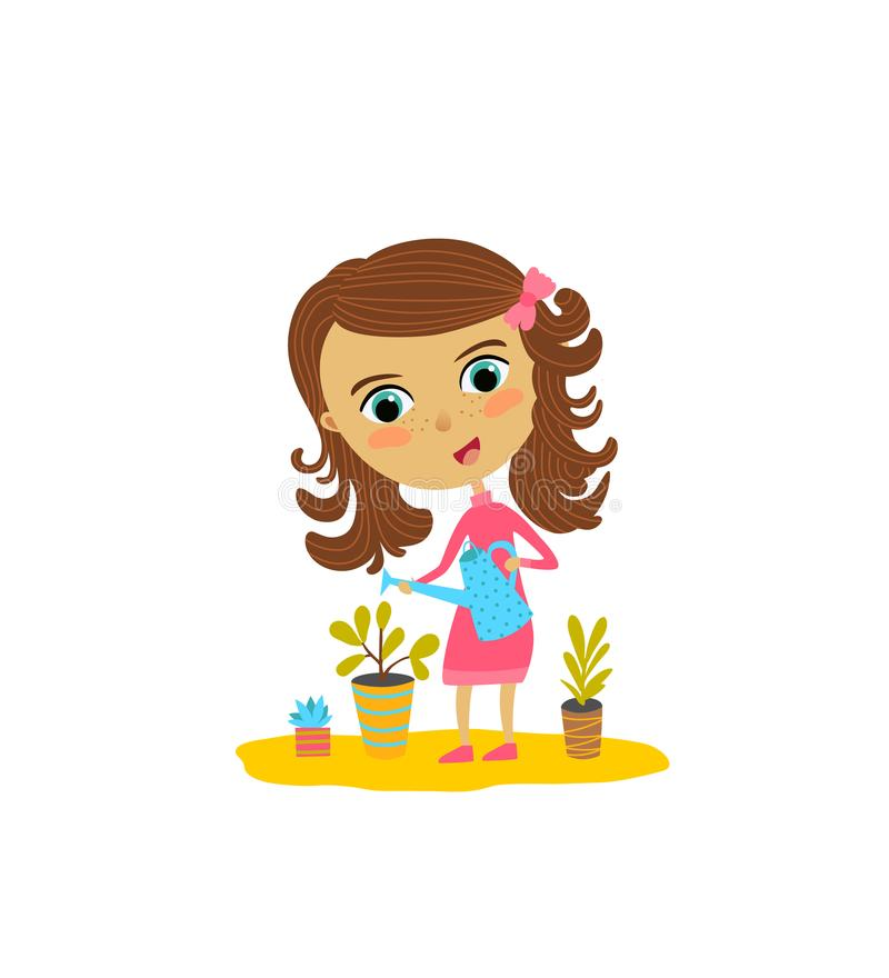 La ragazza sveglia sta innaffiando i fiori Illustrazione di vettore di progettazione piana illustrazione di stock