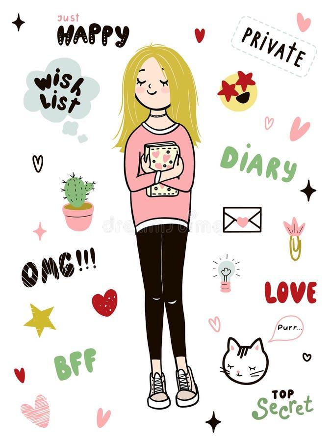 La ragazza teenager sta tenendo il suo diario Giovane ragazza bionda che indossa una maglietta felpata, le ghette e le scarpe da  royalty illustrazione gratis
