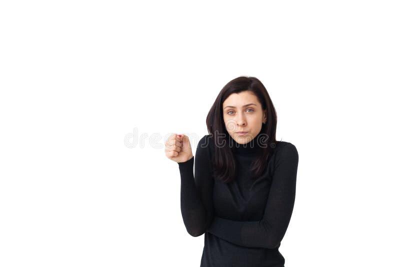 La ragazza tiene qualcosa in sue mani immagine stock libera da diritti