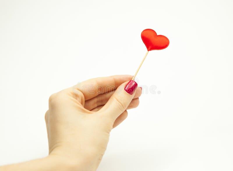 La ragazza tiene in sua mano un cuore rosso su un bastone su un fondo bianco, il concetto di amore fotografie stock libere da diritti
