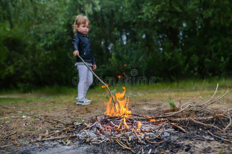 La ragazza triste fa il fuoco nella foresta per cucinare Svago della famiglia con i bambini ad estate fotografie stock libere da diritti