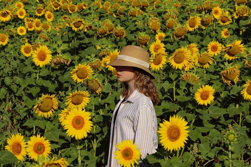 La ragazza in un cappello di paglia sta stando in un grande campo dei girasoli Giovani adulti fotografia stock