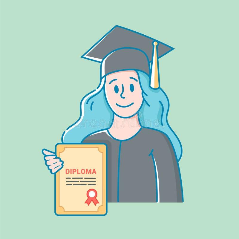 La ragazza in un cappello ed in un abito tiene un diploma nell'istruzione in sua mano Graduazione di High School illustrazione vettoriale