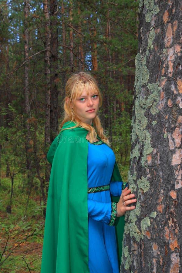 La ragazza in un impermeabile verde circa un pino immagine stock