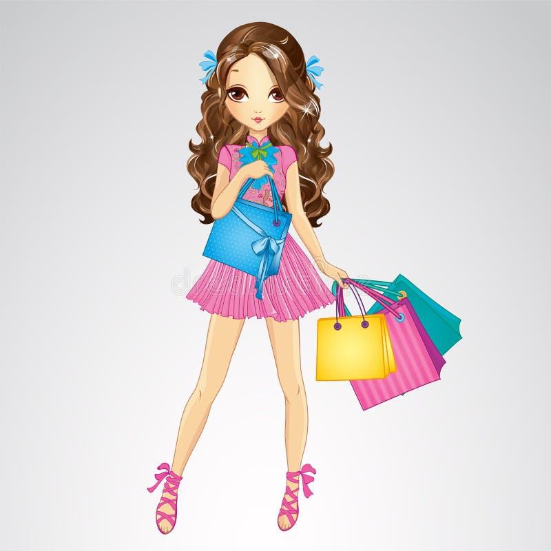La ragazza in vestito rosa fa la spesa illustrazione vettoriale
