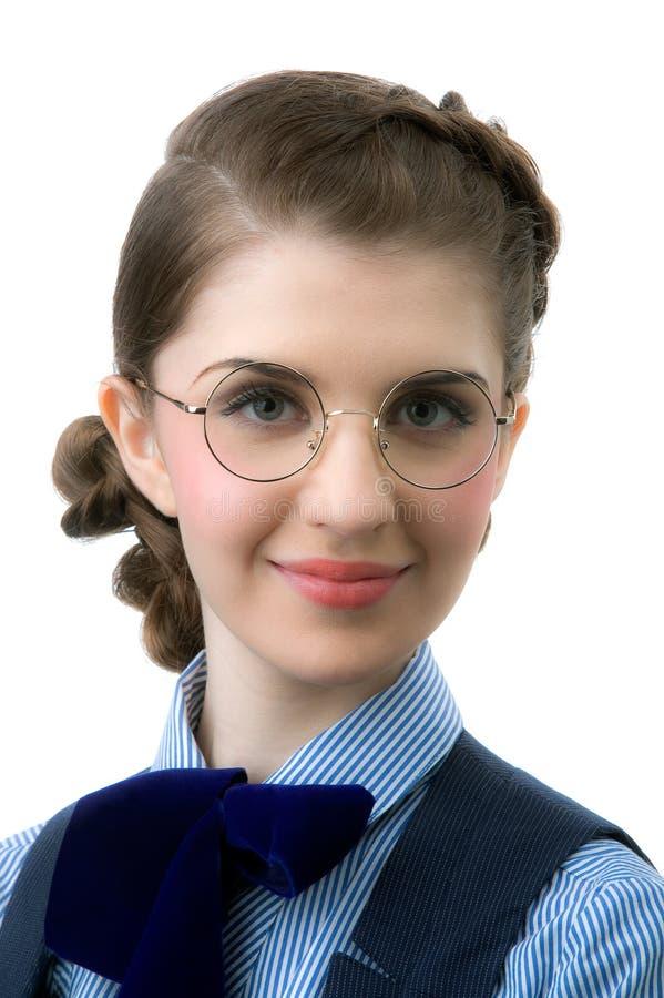 La ragazza in vetri rotondi fotografie stock libere da diritti