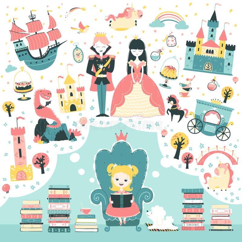 La ragazzina sta leggendo un libro di favole su una principessa Un'illustrazione magica sull'immaginazione dei bambini Vettore royalty illustrazione gratis