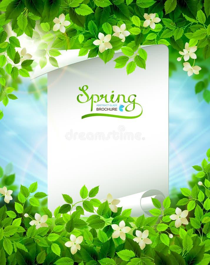La rama de la primavera con verde fresco se va en el cielo brillante azul ilustración del vector