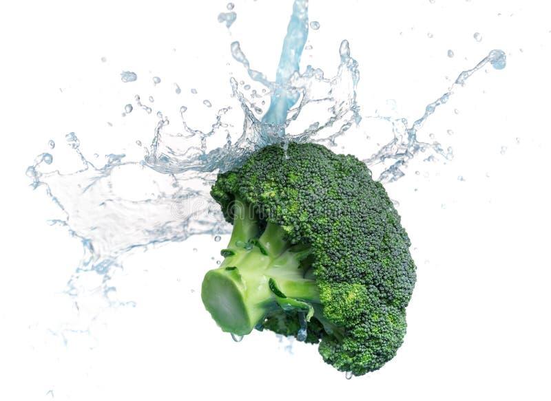 La rama fresca del bróculi verde vierte el agua En el fondo blanco foto de archivo
