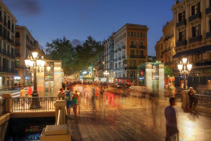 La Rambla,巴塞罗那,西班牙 免版税库存图片
